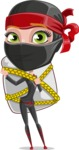 Ninja Woman Cartoon Vector Character AKA Aina - Travel