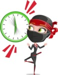 Ninja Woman Cartoon Vector Character AKA Aina - Time is up