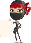 Ninja Woman Cartoon Vector Character AKA Aina - Sign 2