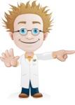 Simple Professor Cartoon Vector Character AKA Professor Smartenstein - Direct Attention