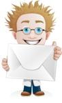 Simple Professor Cartoon Vector Character AKA Professor Smartenstein - Letter