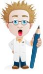 Simple Professor Cartoon Vector Character AKA Professor Smartenstein - Pencil