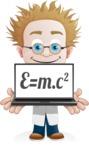 Simple Professor Cartoon Vector Character AKA Professor Smartenstein - Laptop2