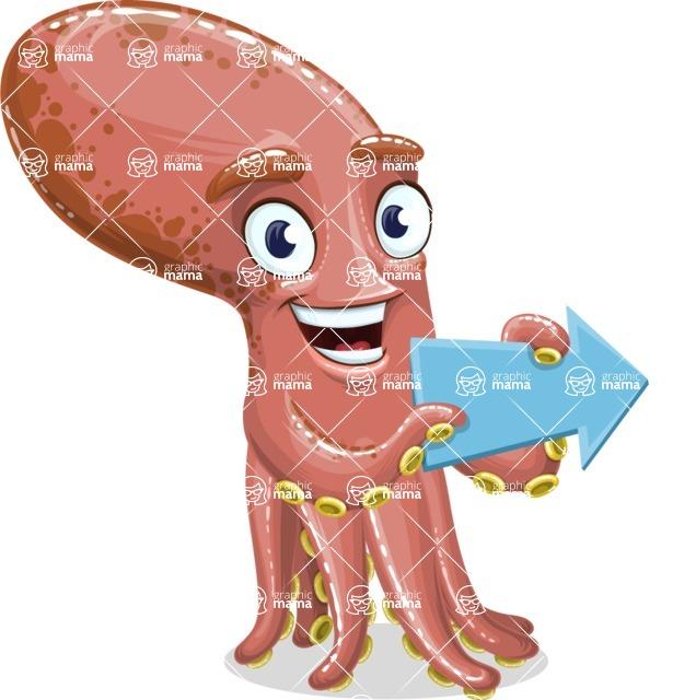 Octopus Cartoon Vector Character AKA BrainDon - Point 2