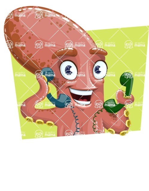Octopus Cartoon Vector Character AKA BrainDon - Shape 1