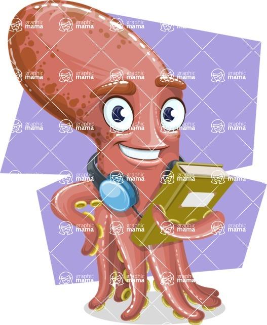 Octopus Cartoon Vector Character AKA BrainDon - Shape 8
