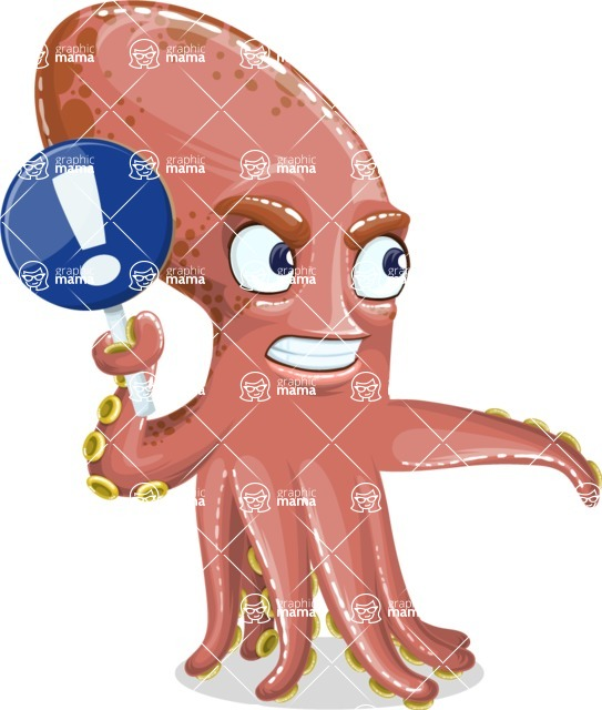 Octopus Cartoon Vector Character AKA BrainDon - Direct Attention 2