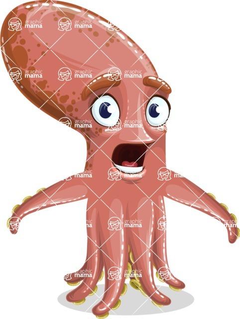Octopus Cartoon Vector Character AKA BrainDon - Stunned