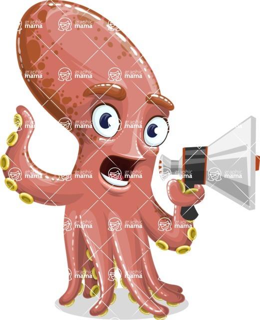 Octopus Cartoon Vector Character AKA BrainDon - Loudspeaker