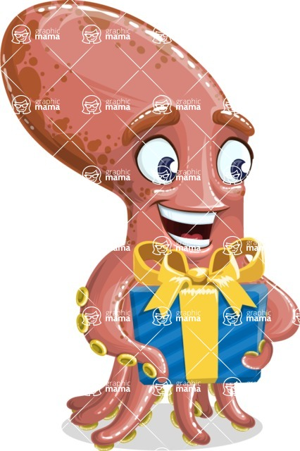 Octopus Cartoon Vector Character AKA BrainDon - Gift