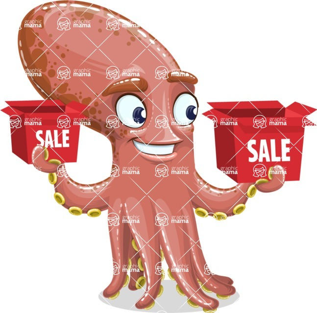 Octopus Cartoon Vector Character AKA BrainDon - Sale