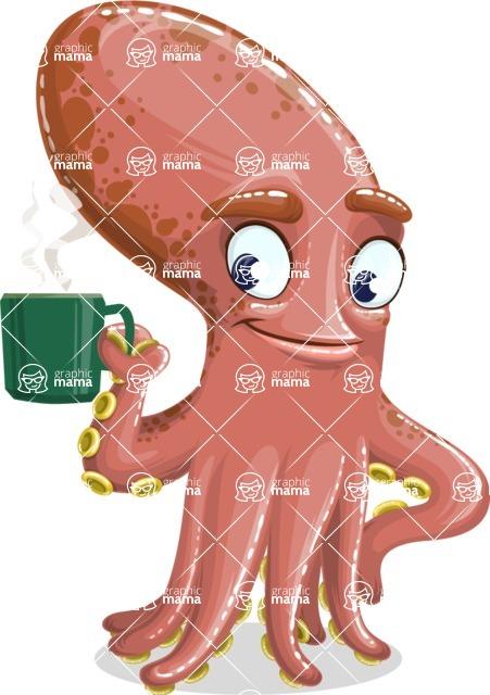 Octopus Cartoon Vector Character AKA BrainDon - Coffee