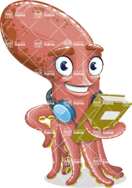 Octopus Cartoon Vector Character AKA BrainDon - Book 3