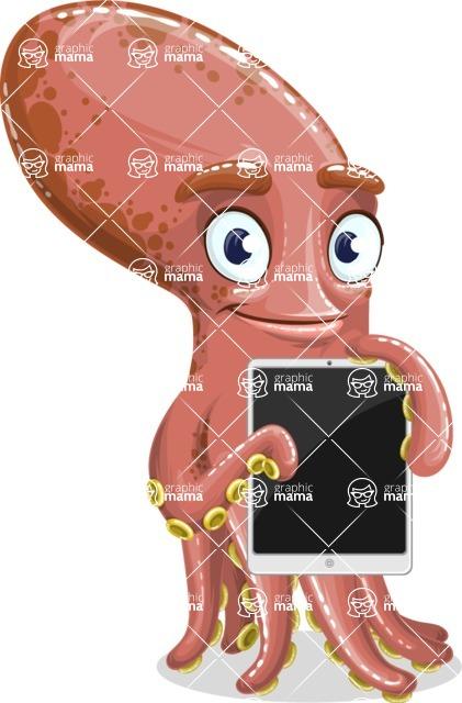 Octopus Cartoon Vector Character AKA BrainDon - iPad 1