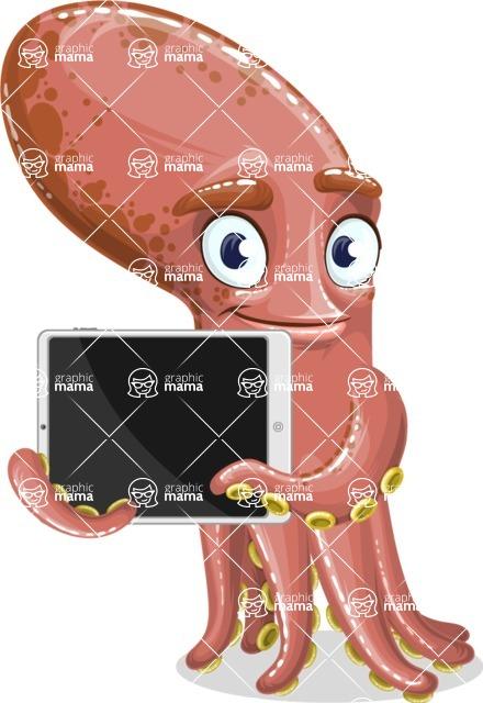 Octopus Cartoon Vector Character AKA BrainDon - iPad 2