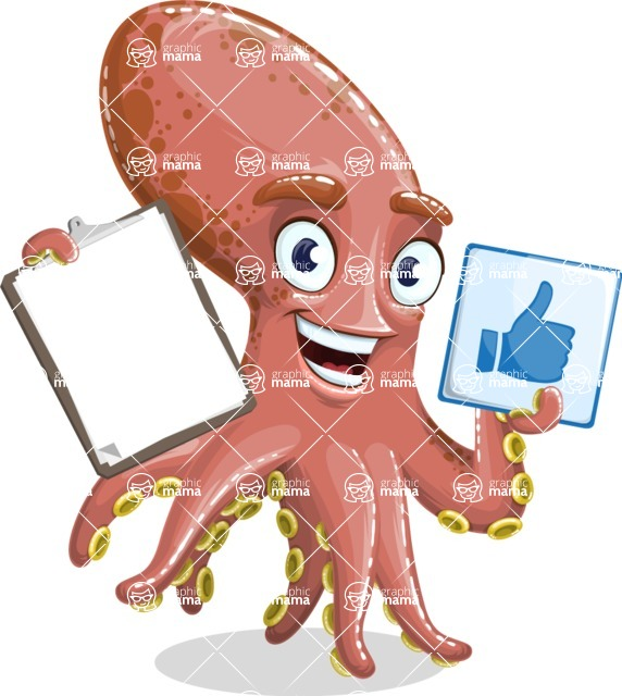 Octopus Cartoon Vector Character AKA BrainDon - Notepad 1