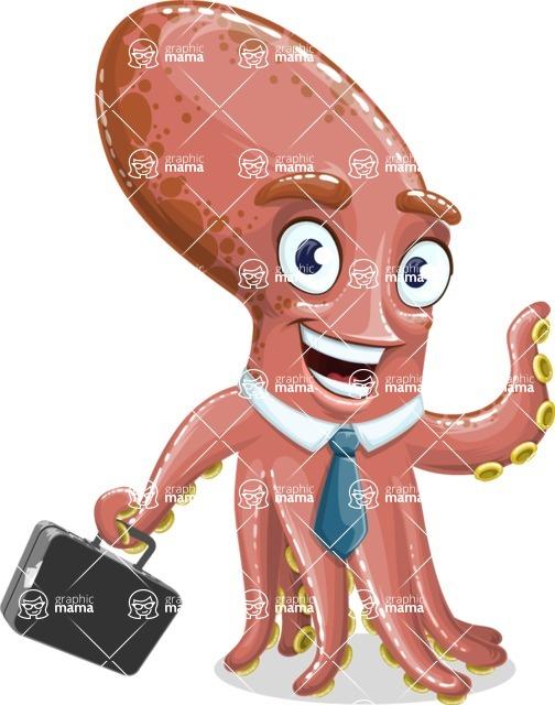 Octopus Cartoon Vector Character AKA BrainDon - Briefcase 1