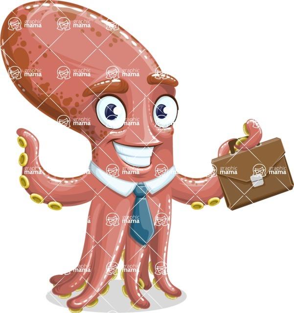 Octopus Cartoon Vector Character AKA BrainDon - Briefcase 2