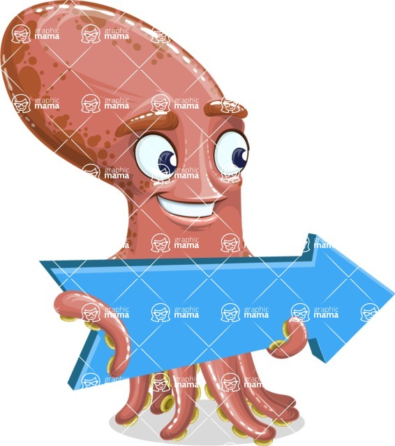 Octopus Cartoon Vector Character AKA BrainDon - Pointer 2