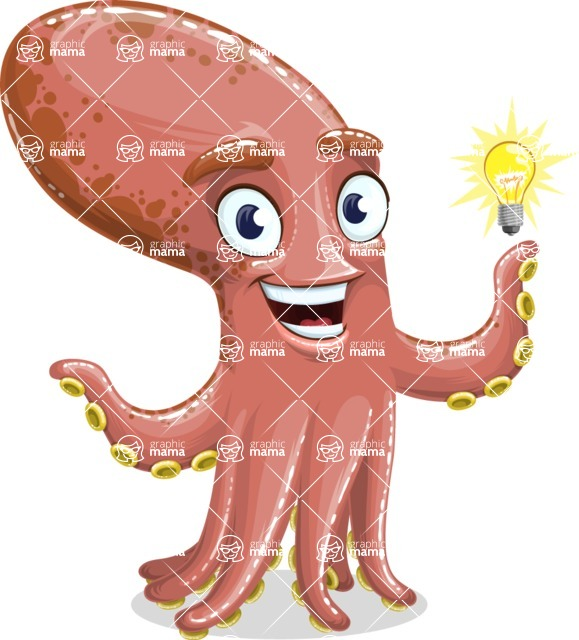 Octopus Cartoon Vector Character AKA BrainDon - Idea 1