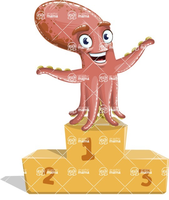 Octopus Cartoon Vector Character AKA BrainDon - On Top