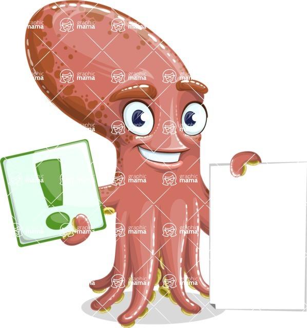 Octopus Cartoon Vector Character AKA BrainDon - Sign 2