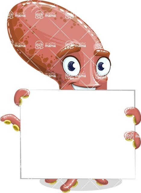 Octopus Cartoon Vector Character AKA BrainDon - Sign 5