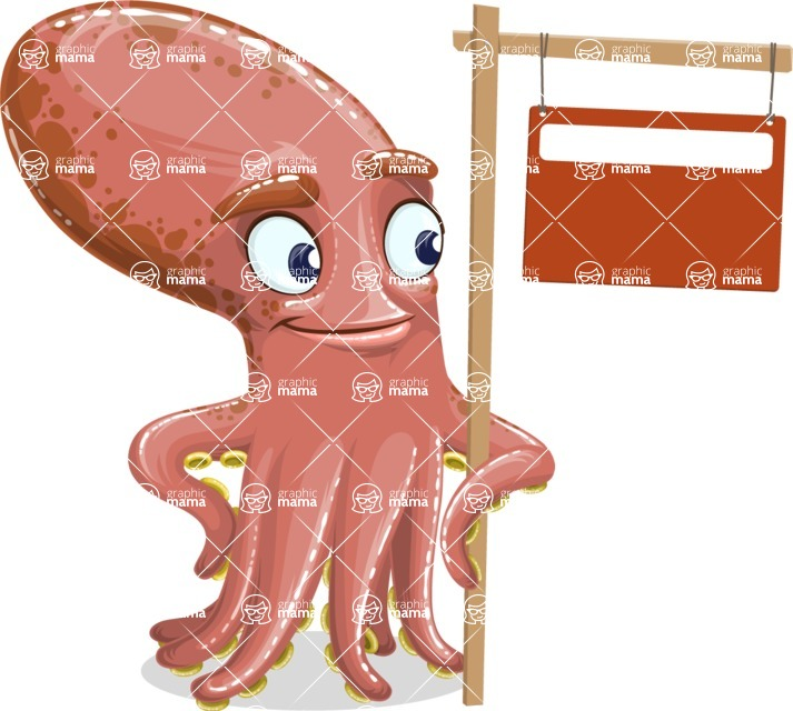 Octopus Cartoon Vector Character AKA BrainDon - Sign 9