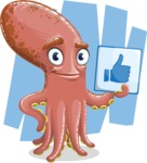 Octopus Cartoon Vector Character AKA BrainDon - Shape 7