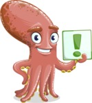 Octopus Cartoon Vector Character AKA BrainDon - Attention