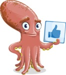 Octopus Cartoon Vector Character AKA BrainDon - Thumbs Up