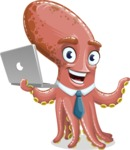 Octopus Cartoon Vector Character AKA BrainDon - Laptop 1