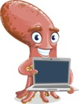 Octopus Cartoon Vector Character AKA BrainDon - Laptop 2