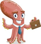 Octopus Cartoon Vector Character AKA BrainDon - Briefcase 2