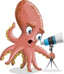 Octopus Cartoon Vector Character AKA BrainDon - Telescope
