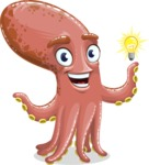 Octopus Cartoon Vector Character AKA BrainDon - Idea 1