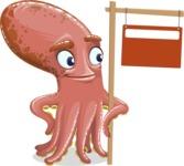 Octopus Cartoon Vector Character AKA BrainDon - Sign 9