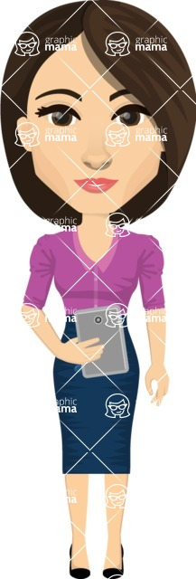 Vector graphic creation kit - all kinds of office women, with different duties, personalities, clothes, hair, accessories. Make a woman creation pack - Pose 10