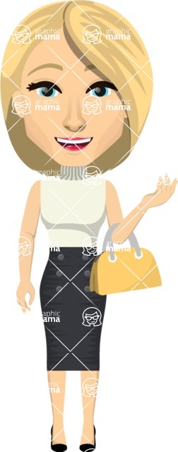 Vector graphic creation kit - all kinds of office women, with different duties, personalities, clothes, hair, accessories. Make a woman creation pack - Pose 11