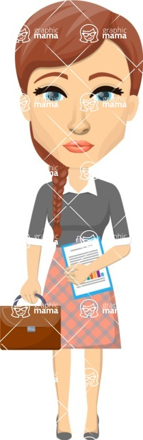 Vector graphic creation kit - all kinds of office women, with different duties, personalities, clothes, hair, accessories. Make a woman creation pack - Pose 15