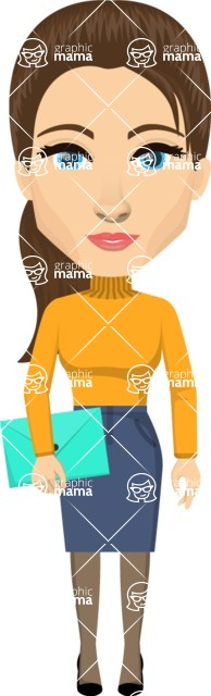 Vector graphic creation kit - all kinds of office women, with different duties, personalities, clothes, hair, accessories. Make a woman creation pack - Pose 18