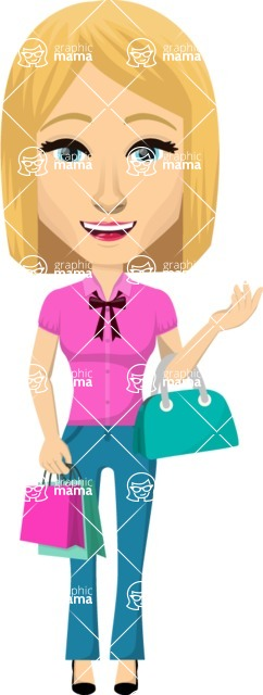 Vector graphic creation kit - all kinds of office women, with different duties, personalities, clothes, hair, accessories. Make a woman creation pack - Pose 19