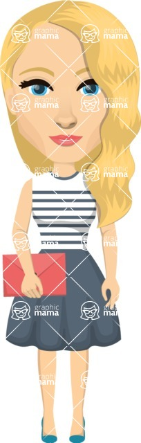 Vector graphic creation kit - all kinds of office women, with different duties, personalities, clothes, hair, accessories. Make a woman creation pack - Pose 21