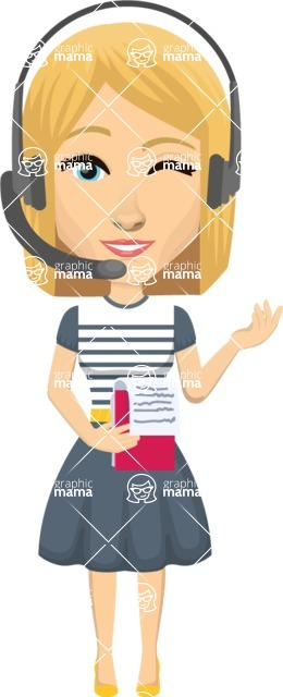 Vector graphic creation kit - all kinds of office women, with different duties, personalities, clothes, hair, accessories. Make a woman creation pack - Pose 28