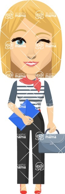 Vector graphic creation kit - all kinds of office women, with different duties, personalities, clothes, hair, accessories. Make a woman creation pack - Pose 36