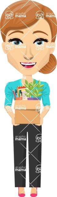 Vector graphic creation kit - all kinds of office women, with different duties, personalities, clothes, hair, accessories. Make a woman creation pack - Pose 37