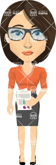 Vector graphic creation kit - all kinds of office women, with different duties, personalities, clothes, hair, accessories. Make a woman creation pack - Pose 38