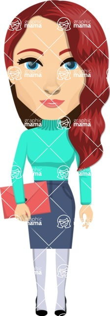 Vector graphic creation kit - all kinds of office women, with different duties, personalities, clothes, hair, accessories. Make a woman creation pack - Pose 44