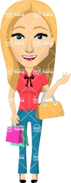 Vector graphic creation kit - all kinds of office women, with different duties, personalities, clothes, hair, accessories. Make a woman creation pack - Pose 45