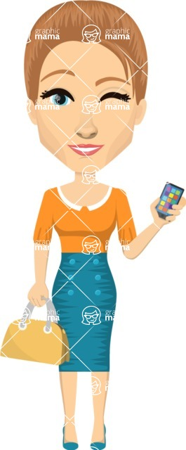 Vector graphic creation kit - all kinds of office women, with different duties, personalities, clothes, hair, accessories. Make a woman creation pack - Pose 50